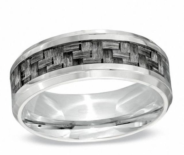 Mens  Mm Comfort Fit Grey Carbon Fiber Stainless Steel Wedding Band