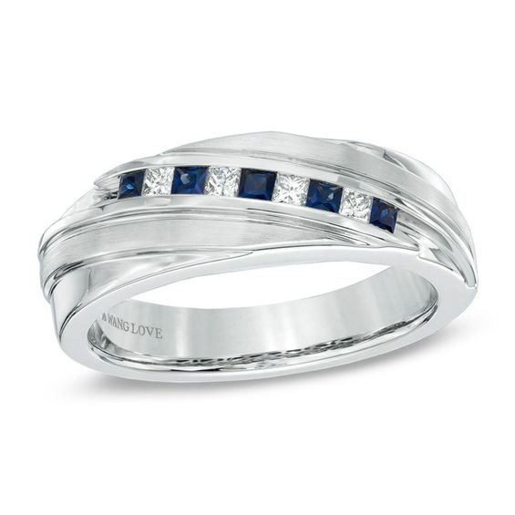 Vera Wang Love Collection Mens Square Cut Blue Sapphire