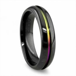 Titanium Rings   Rings   Zales Radiance by Edward Mirell Men s 6 0mm Anodized Wedding Band in Black  Titanium