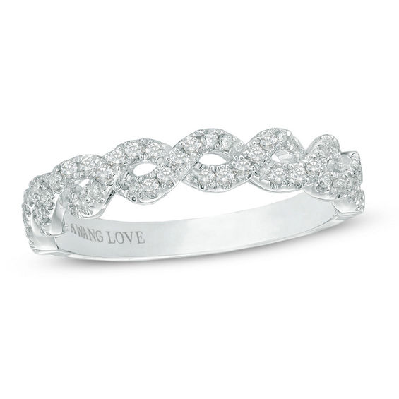 vera wang love collection 1 4 ct t w diamond braided wedding band in 14k