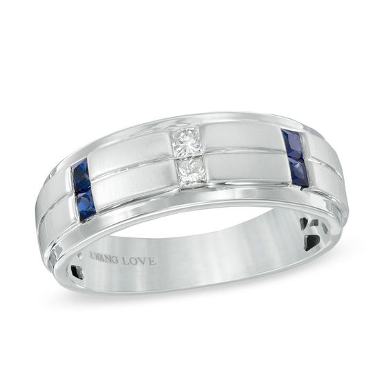 vera wang love collection men s 1 8 ct t w diamond and blue sapphire wedding