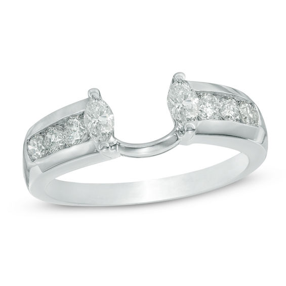 1 2 Ct T W Marquise Diamond Solitaire Enhancer In 14k White Gold Wedding Bands Wedding Zales