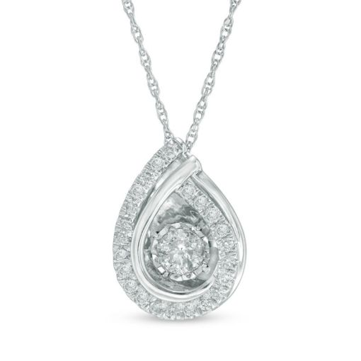 Unstoppable Love   Collections   Zales T W  Diamond Teardrop Overlay Pendant in 14K White
