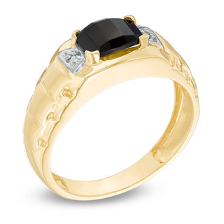 Mens Barrel Cut Onyx And Diamond Accent Ring In 10K Gold