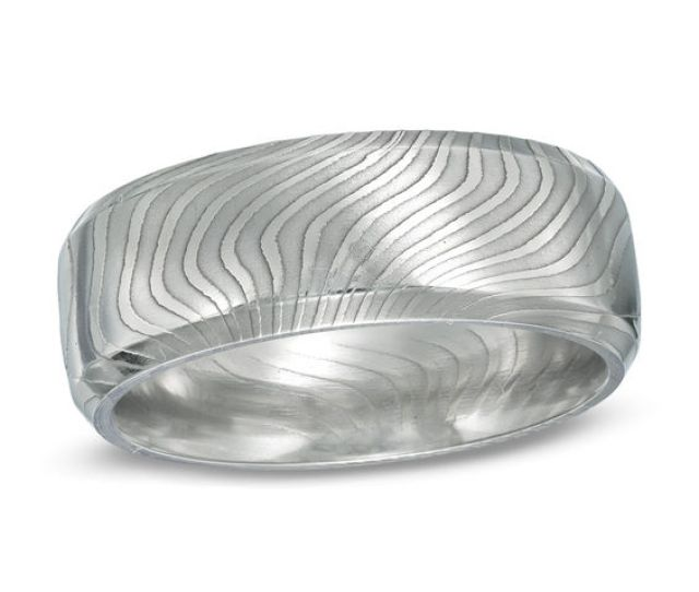 Mens  Mm Comfort Fit Damascus Stainless Steel Wedding Band Size