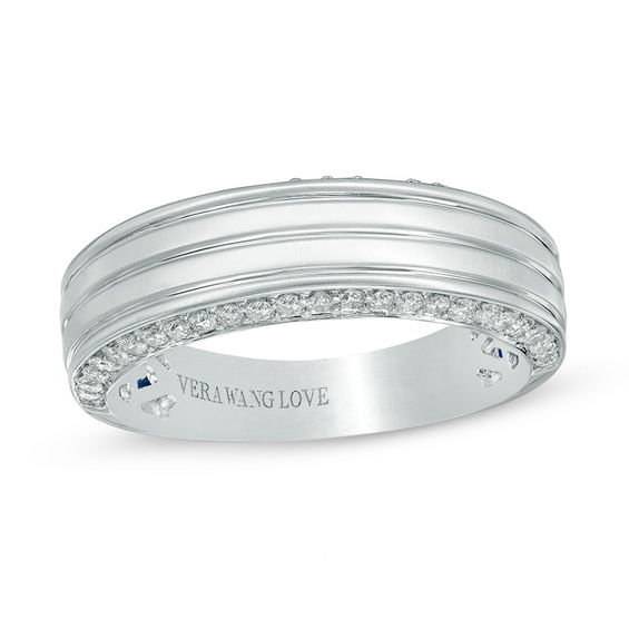 vera wang love collection men s 1 2 ct t w diamond edge grooved wedding band