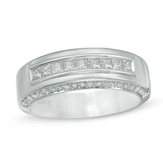 vera wang love collection men s 1 ct t w diamond nine stone wedding band in 14k