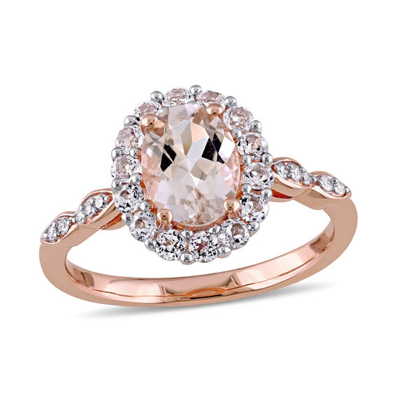 Oval Morganite White Topaz And Diamond Accent Frame