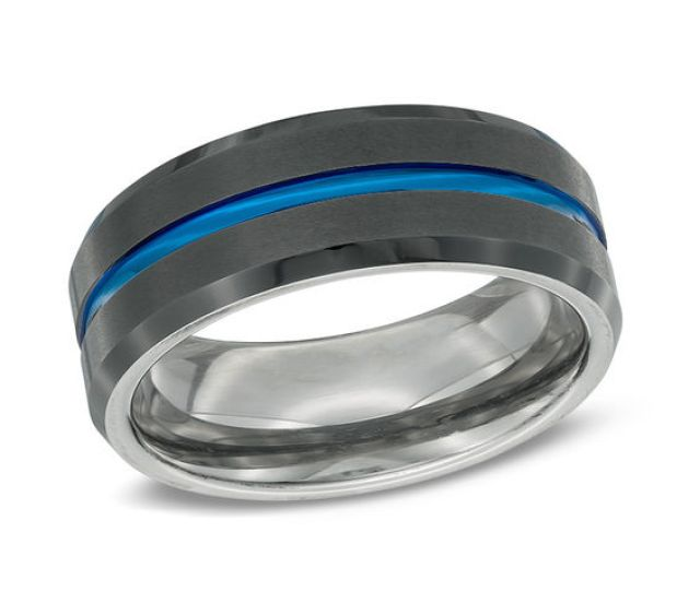 Mens  Mm Two Tone Ip Stainless Steel Wedding Band