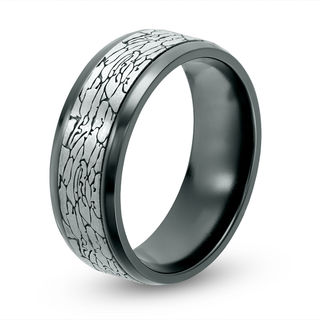 Mens 80mm Crackle Pattern Comfort Fit Wedding Band In