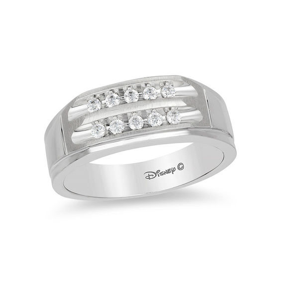 enchanted disney men s 1 4 ct t w diamond two row wedding band in 14k