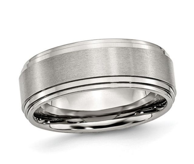 Mens  Mm Brushed Comfort Fit Wedding Band In Stainless Steel