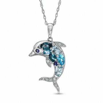 Blue Topaz  Iolite and Lab Created White Sapphire Dolphin Pendant in         Iolite and Lab Created White Sapphire Dolphin Pendant in Sterling Silver