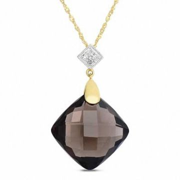 Blue Topaz  Iolite and Lab Created White Sapphire Dolphin Pendant in     14 0mm Faceted Square Smoky Quartz and Diamond Accent Pendant in 14K Gold
