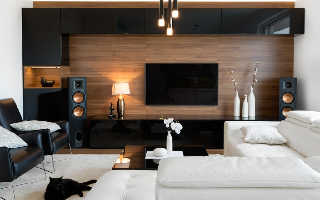 tv room with Contemporary furnishings