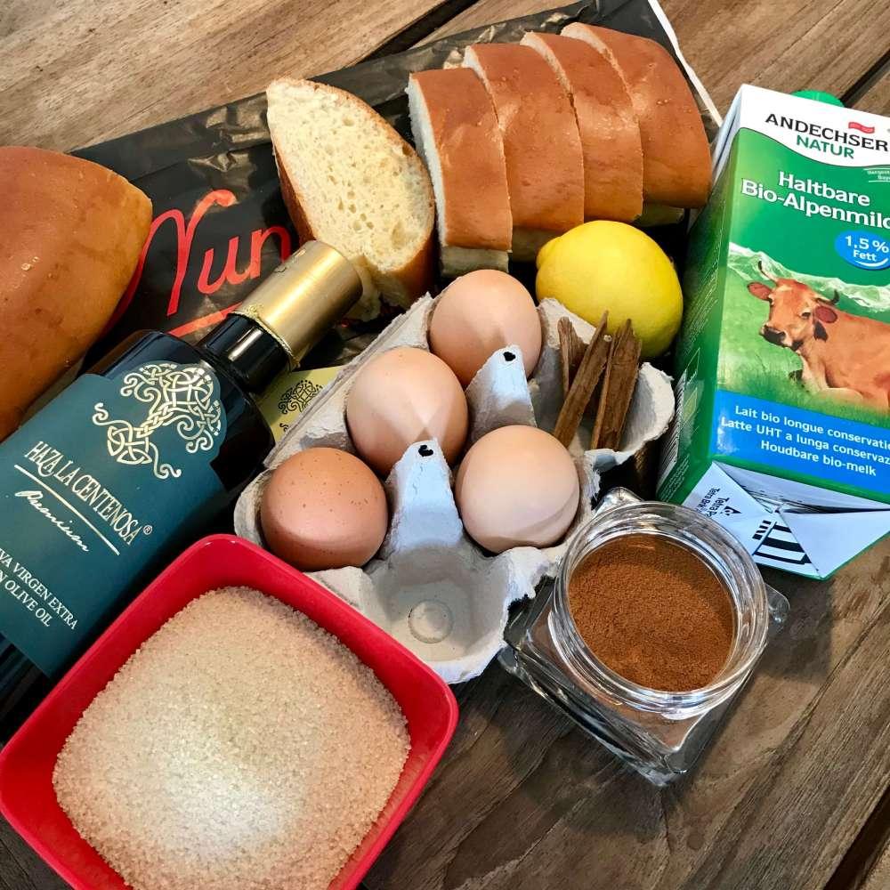 Ingredientes para preparar recetas de torrijas