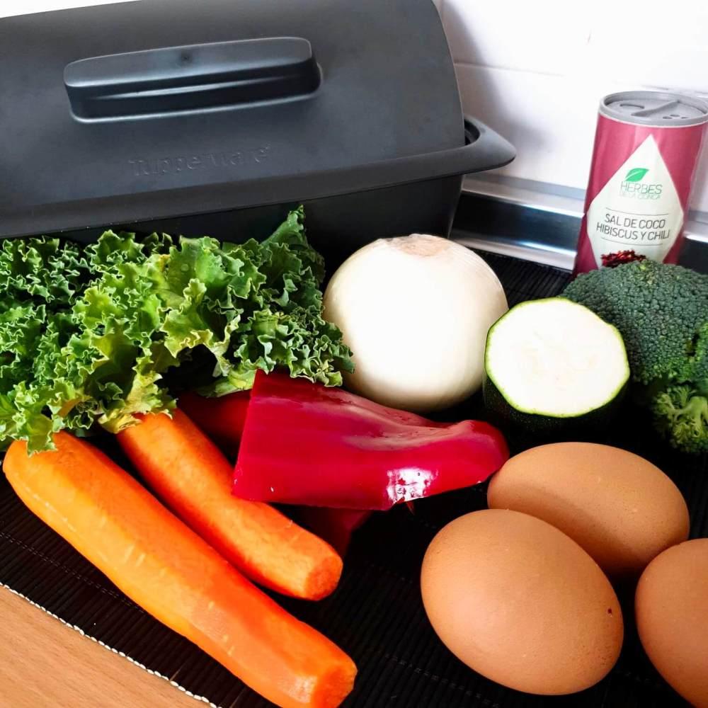 Pastel de verduras Tupperware, ingredientes