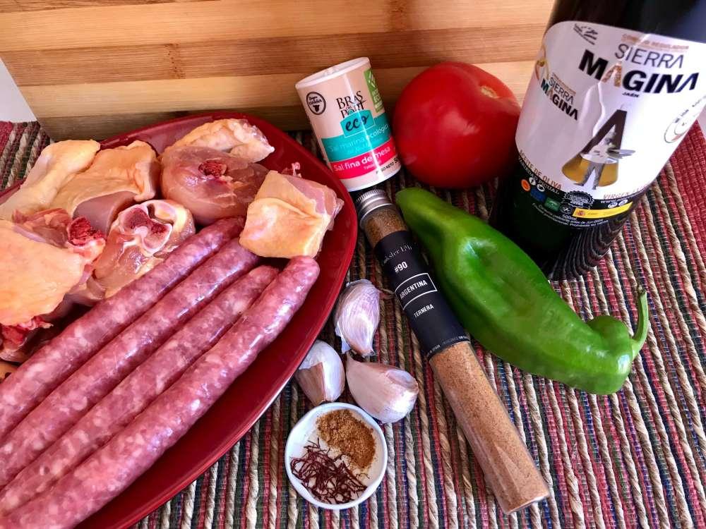 Ingredientes para hacer arroz con carne