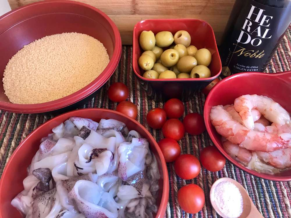 Ingredientes para hacer ensalada de cous cous