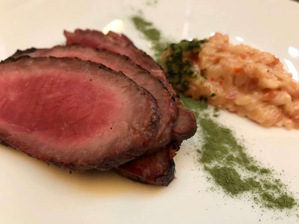 Carne de cerdo ibérico en el restaurante A'Barra