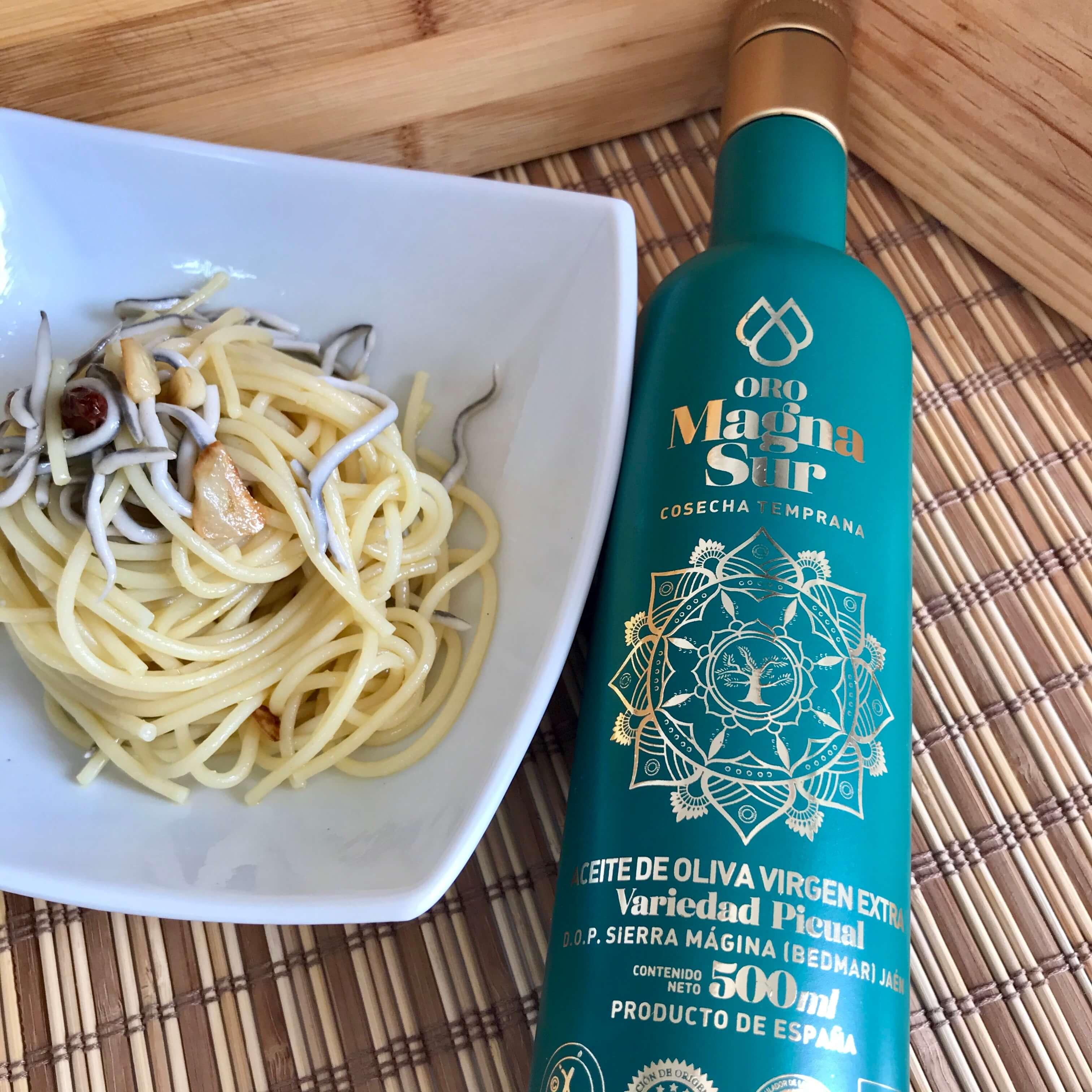 Espagueti con gulas y aove Oro Magna Sur