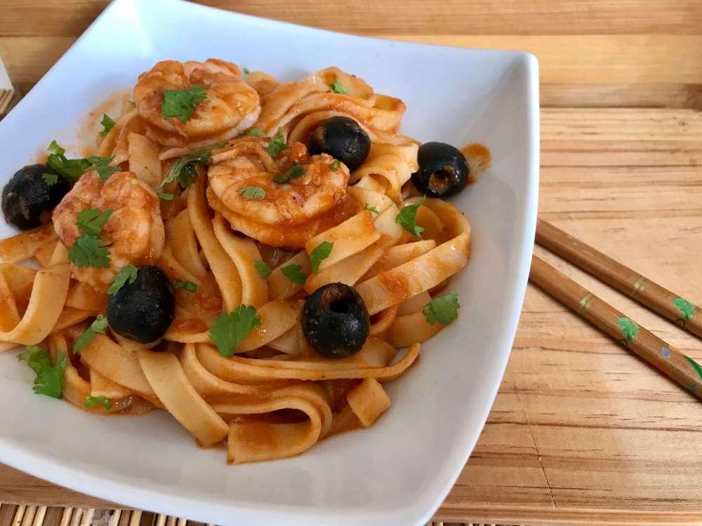 Receta de pasta con camarones picantes