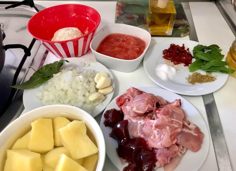 Ingredientes para hacer andrajos de Jaén con conejo