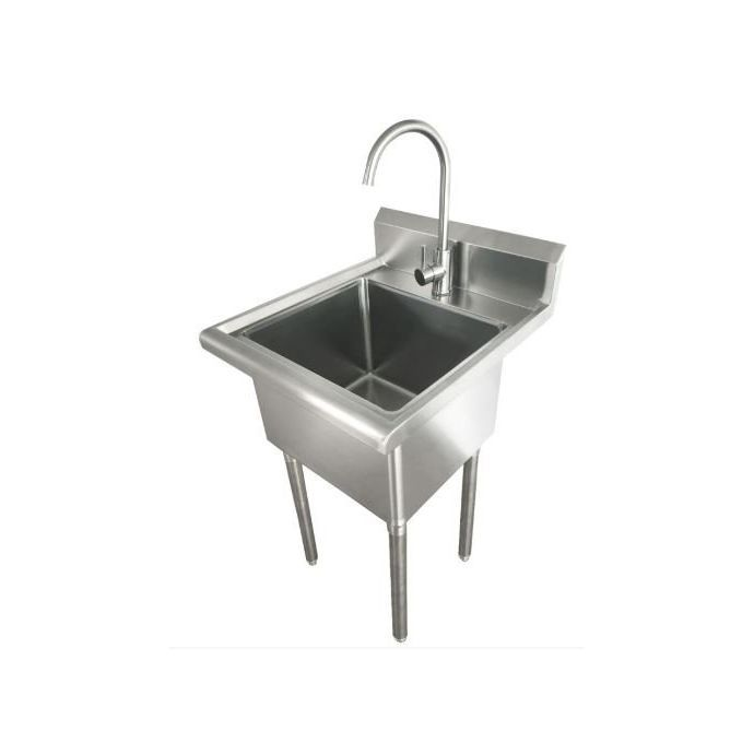 zanduco 24 x 21 5 x 33 laundry sink with faucet and drain basket