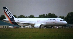 Prototype of the Airbus A320 family F-WWAI at Paris-Le Bourget.