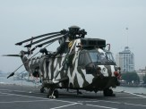 Westland Sea King HC.4 ZF124/L Royal Navy on board HMS Ark Royal in the Rotterdam harbour, Netherlands.
