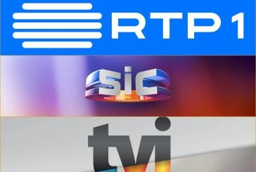 RTP1, SIC e TVI equilibram-se às 19h neste sábado