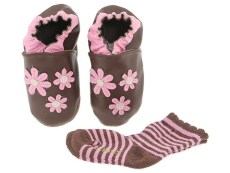 Robeez - Daisy W/ Free Sock (Infant/Toddler) (Brown) - Footwear