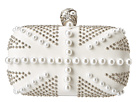 Alexander McQueen - Britannia Skull Box Clutch (Studs And Pearls) (Optic White) - Bags and Luggage