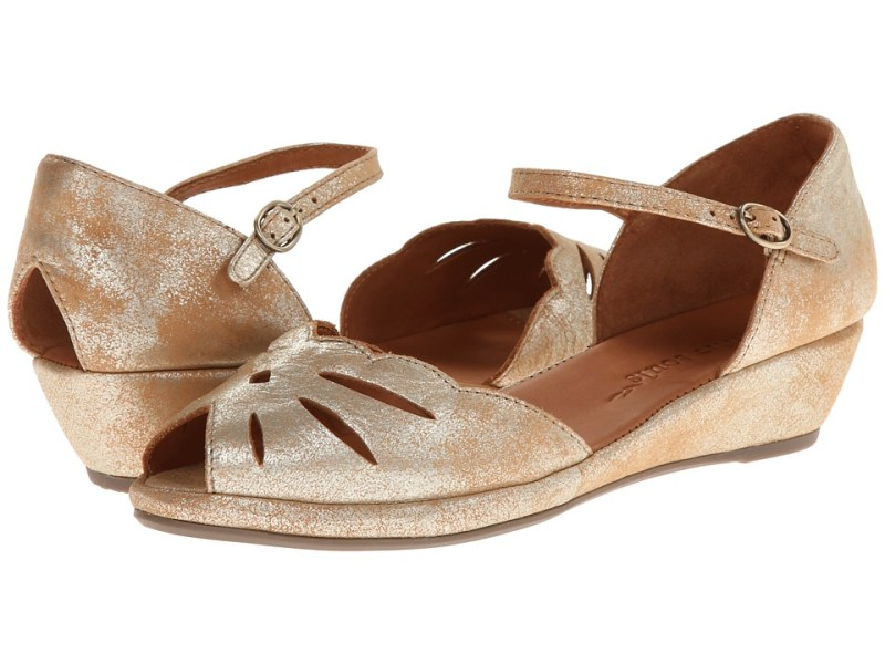 Gentle Souls - Lily Moon (Gold Metallic Suede) Women's Wedge Shoes