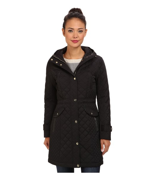 Cole Haan Essential Quilt Hooded Parka (Black) Women's Coat