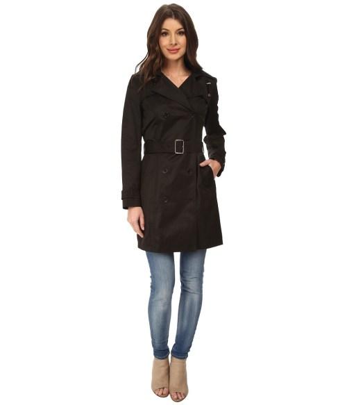 Cole Haan 35 1/2 Double Breasted Trench Coat (Black) Women's Coat
