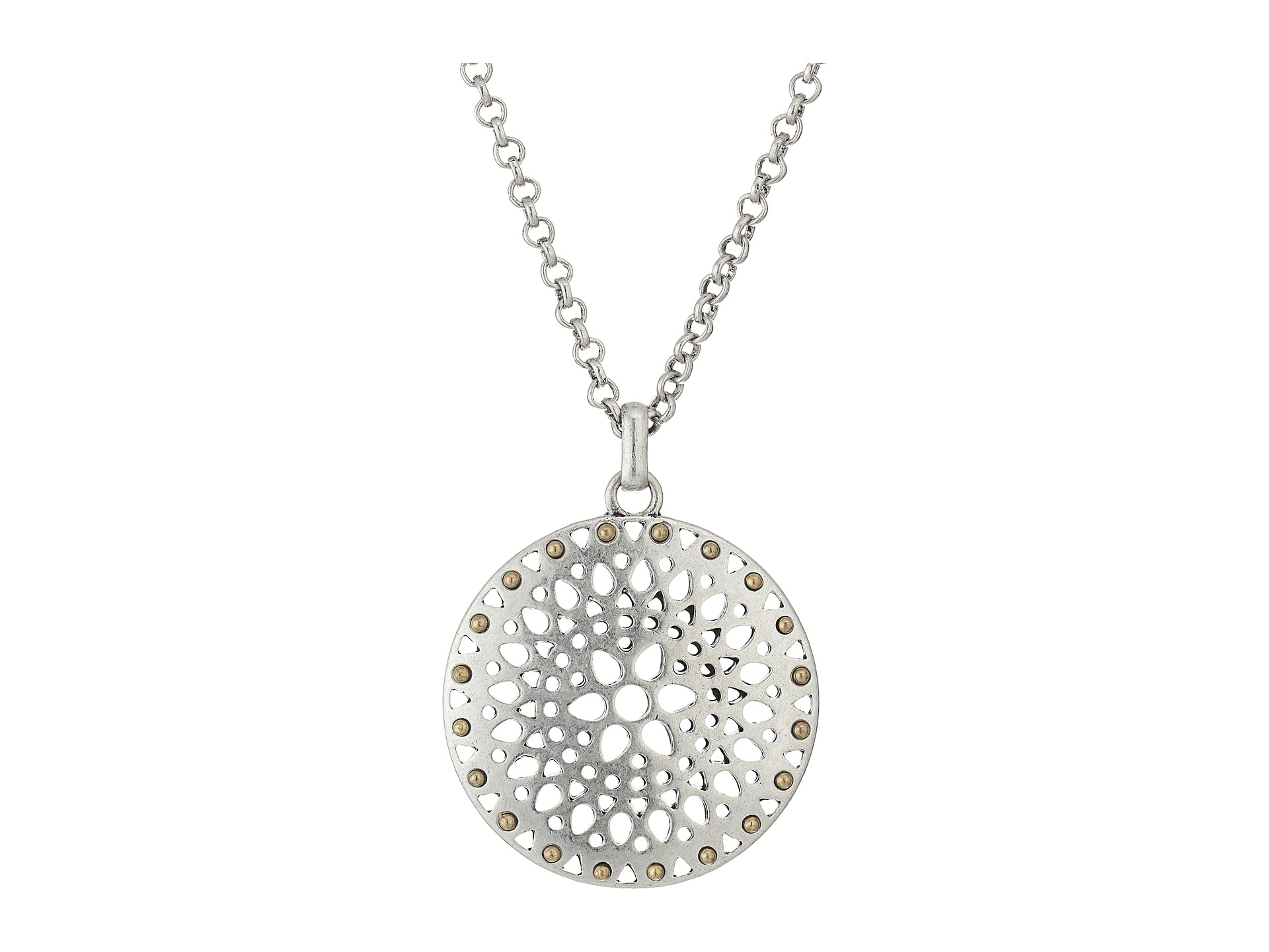Lucky Brand Openwork Pendant Necklace Silver