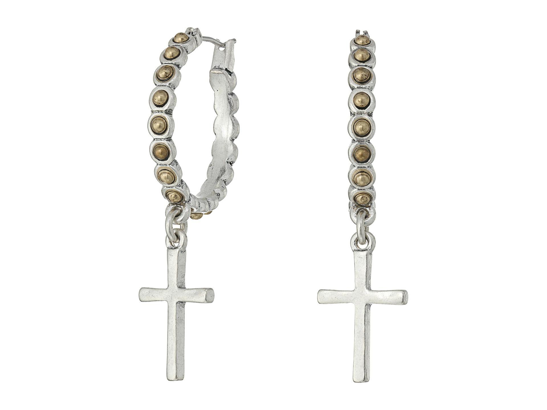 Lucky Brand Cross Silver Dangle Hoop Earrings Two Tone