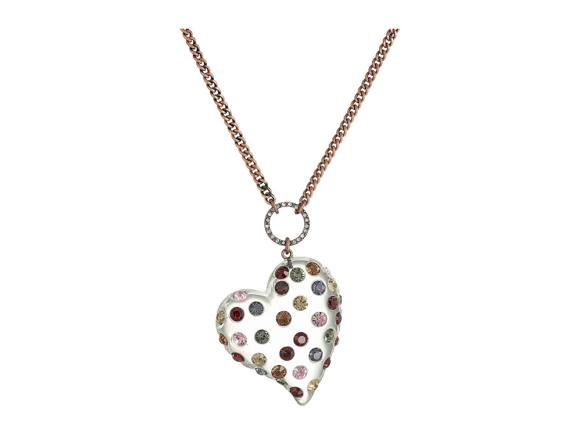 Betsey Johnson Multi Lucite Heart Pendant Necklace