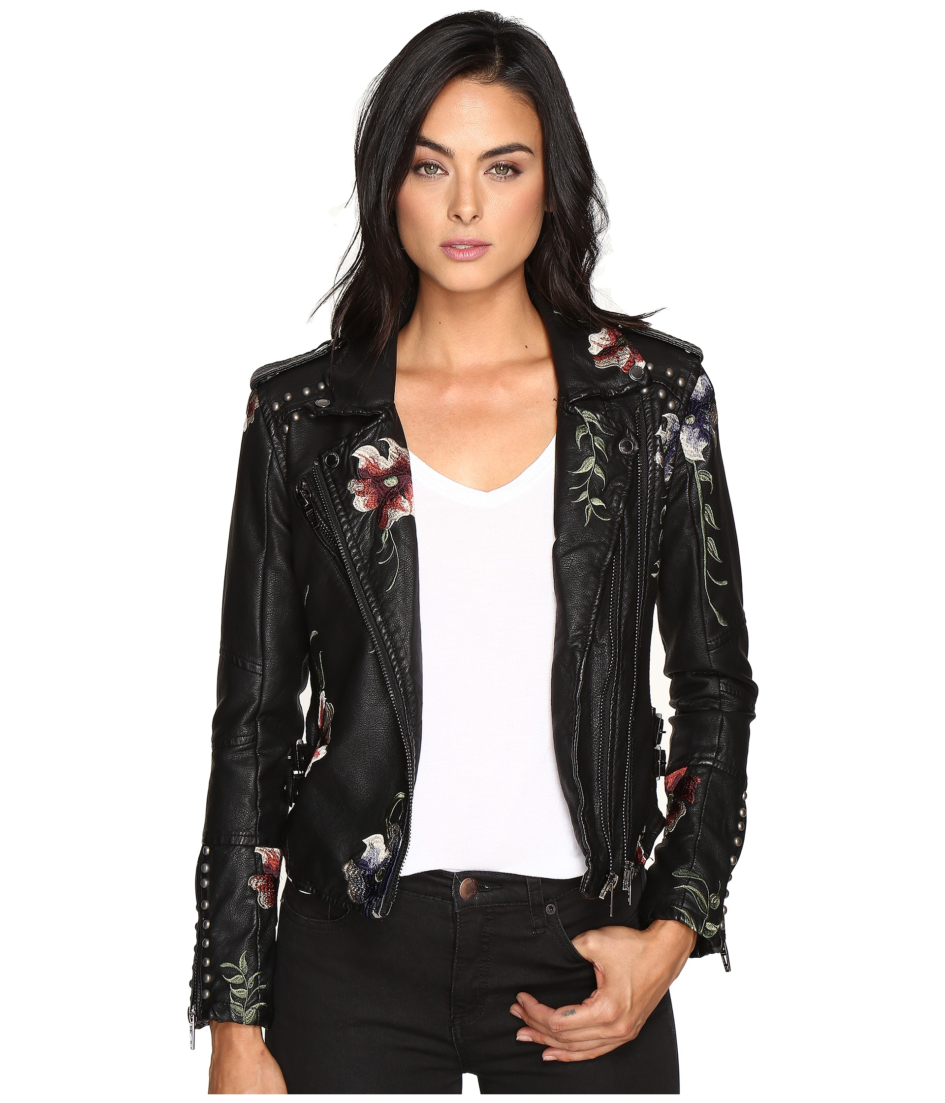 Blank NYC Embroidered Floral Detail Studded Moto Jacket In As You Wish At
