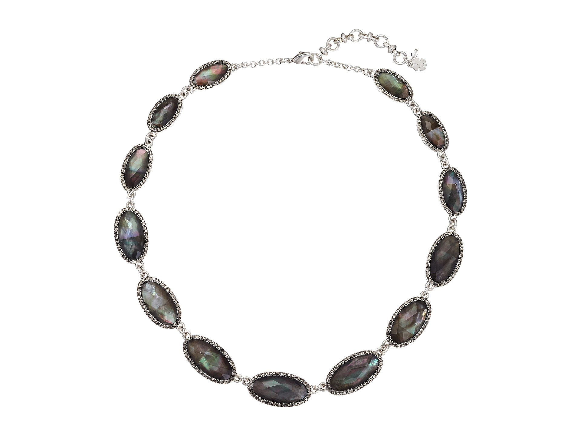 Lucky Brand Mother Of Pearl Collar Necklace Silver