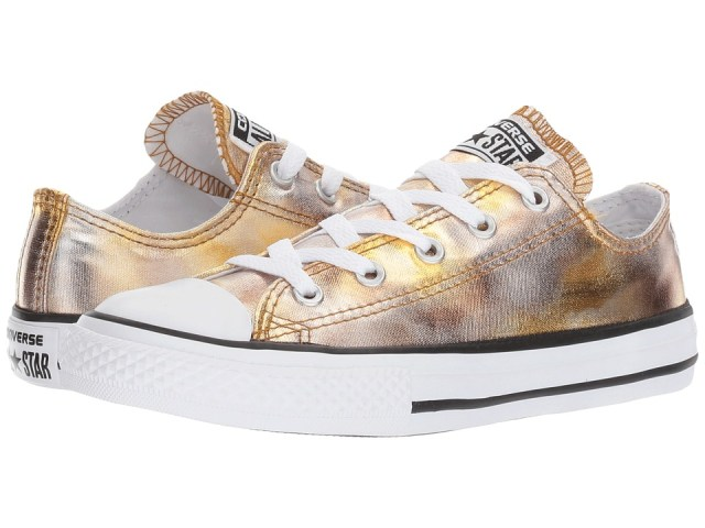 Converse Kids - Chuck Taylor All Star Ox Metallic (Little Kid) (Silver Gold/White/Black) Girl's Shoes