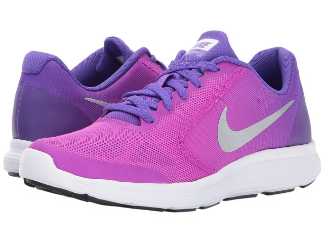 Nike Kids - Revolution 3 (Big Kid) (Hyper Violet/Metallic Silver/Hyper Grape) Girls Shoes