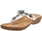 Minnetonka - Boca Thong (White Leather W/ Turquoise) - Footwear