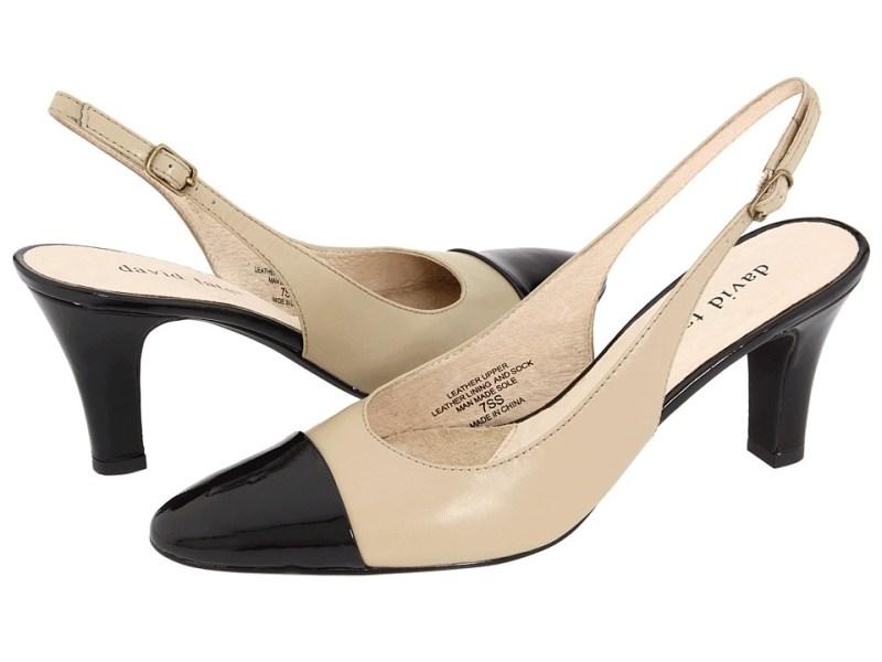 David Tate Grace (Natural/Black Patent) Women's Sling Back Shoes