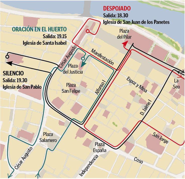Programa de Semana Santa en Zaragoza 2019 - Recorridos procesiones y vía crucis Jueves Santo tarde pronto 18 de abril de 2019 en Zaragoza