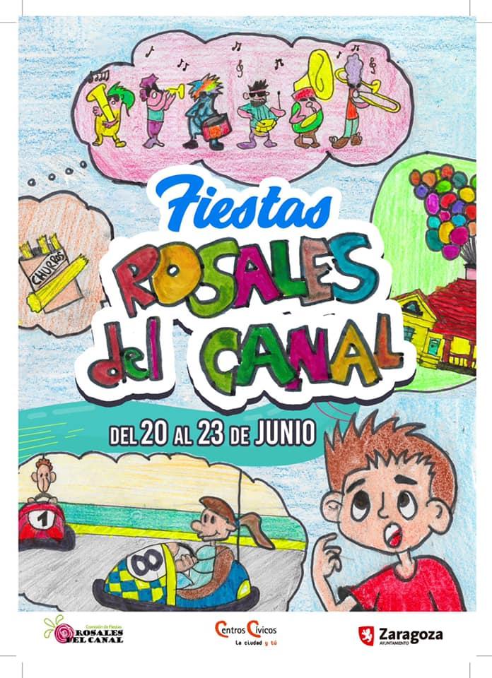 Las fiestas del barrio de Rosales del Canal coinciden con el quemado de las hogueras de San Juan en Zaragoza este 2019