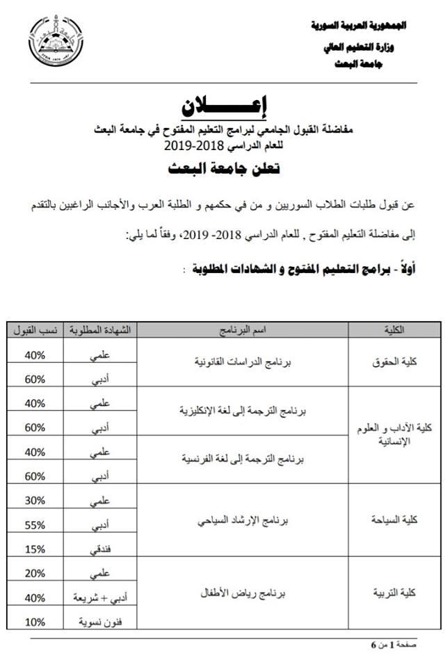 اعلان مفاضلة التعليم المفتوح جامعة البعث 2018