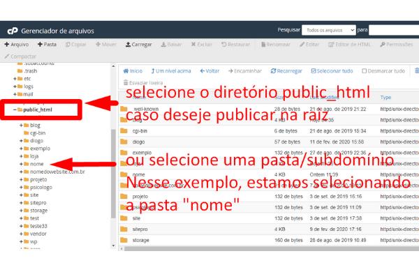 selecione public-html ou um subdominio