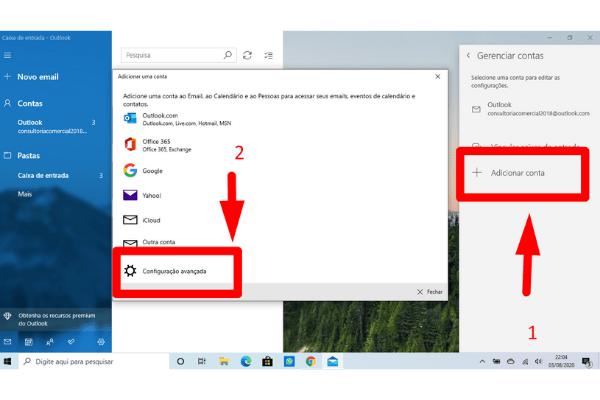 adicionar conta e configuracao avancada no windows mail